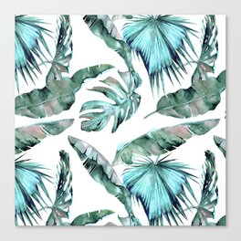 Tropical Palm Leaves Blue Green on White Canvas Print