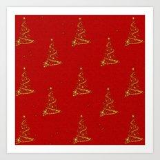 Gold Christmas Trees Art Print