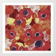 Vintage Floral Collage Art Print