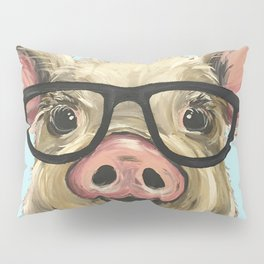 Cute Pig Painting, Farm Animal with Glasses Pillow Sham