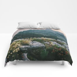 Mountain flowers at sunrise Comforters