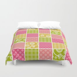 Zigzag, Polka Dots, Gingham - Green Pink Yellow Duvet Cover