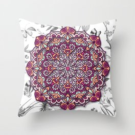 FLORAL MANDALA Throw Pillow
