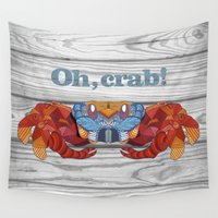 crab Wall Tapestries featuring Oh, Crab! by ArtLovePassion