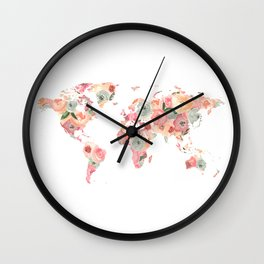 Floral Watercolor World Map - Pink, Coral, Aqua Flowers Wall Clock
