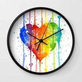 Rainbow Heart Watercolor Wall Clock