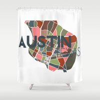 texas Shower Curtains featuring Austin Texas + by Studio Tesouro