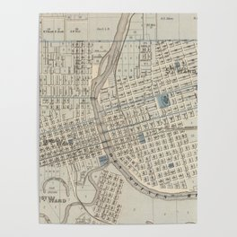 Vintage Map of Des Moines IA (1875) Poster