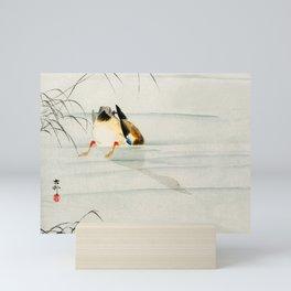Mallard Duck Diving under water - Vintage Japanese Woodblock Print Art Mini Art Print