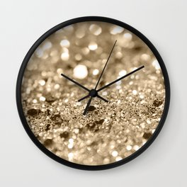 Champagne Gold Lady Glitter #1 #shiny #decor #art #society6 Wall Clock