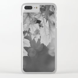 Autumn Leaf (Black and White) Clear iPhone Case