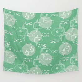 Mola Mola Green-Ocean sunfish Wall Tapestry