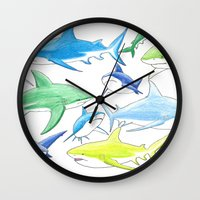 sharks Wall Clocks featuring sharks by Kathryn Rickards