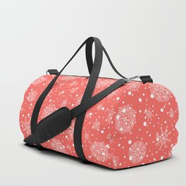 Christmas snowflakes on red background Duffle Bag