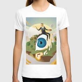 great surrealism painter on big floating eye in island with clocks T-shirt