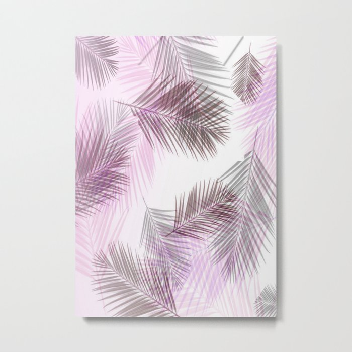 Pink Palm Leaves Metal Print