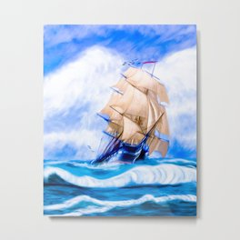 Frigate USS Constitution At Sea Metal Print