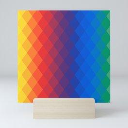 Rainbow geometric pattern Mini Art Print