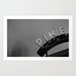 Seattle Pike Place Market Black and White Art Print
