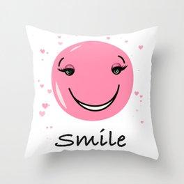 Pink cute smily face design Throw Pillow