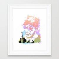 j dilla Framed Art Prints featuring Rest In Beats Dilla by JLillustration
