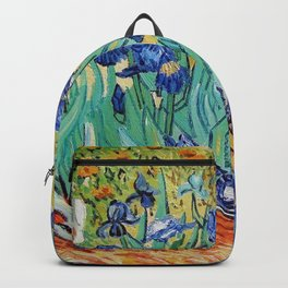Irises Painting by Vincent van Gogh Backpack