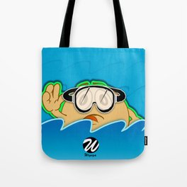 Swimmer Cartoon Character with Goggles in Water Tote Bag
