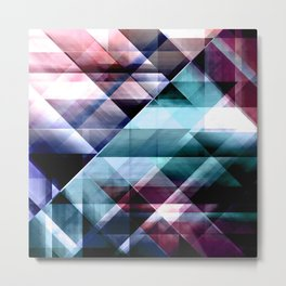 Burgundy Teal and Blue Abstract Geometric Pattern Metal Print
