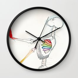 Mr Bones, tall colorful skeleton, NYC artist Wall Clock