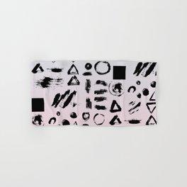 Blush pink gray black paint brushstrokes shapes gradient Hand & Bath Towel