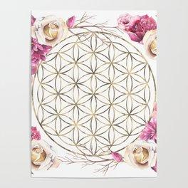 Flower of Life Rose Garden Gold Poster