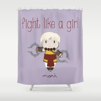 diablo Shower Curtains featuring Fight Like a Girl - Diablo 3 ~ Monk by ~ isa ~