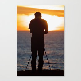 Photographer photographing the sunset over the Pacific Ocean Canvas Print