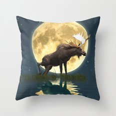 Moose & Moon Throw Pillow