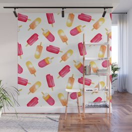 watercolor popsicle pattern Wall Mural