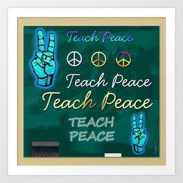 Teach Peace Blackboard Symbols Art Print