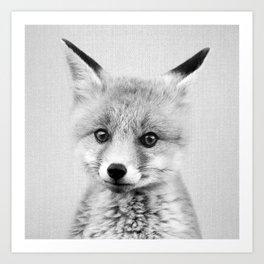 Baby Fox - Black & White Art Print