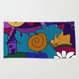 """""""Before the Celebration"""" bold, colorful doodle art Beach Towel"""
