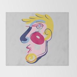 Big Blonde Guy - Modern Abstract Portrait Throw Blanket