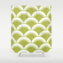 Japanese Fan Pattern Chartreuse Shower Curtain