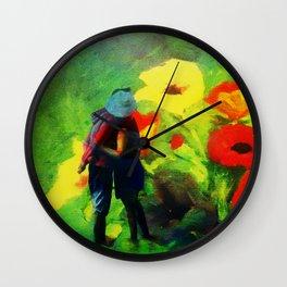 Dans les fleurs Wall Clock