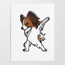 Funny Dabbing Papillon Dog Dab Dance Poster