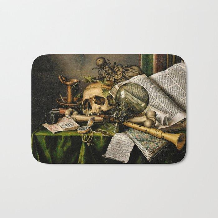 Vintage Vanitas- Still Life with Skull Bath Mat