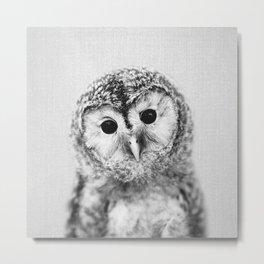 Baby Owl - Black & White Metal Print