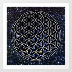 Flower of life in the space Art Print