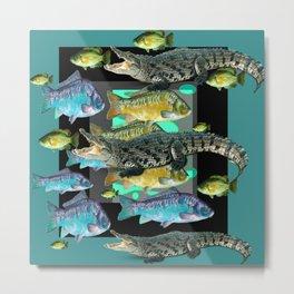 FISH DINNER & HUNGRY ALLIGATORS BLUE ART Metal Print