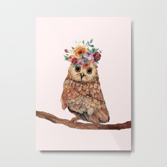 Owl with Flowers Metal Print