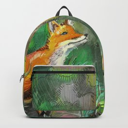 fox on a green meadow Backpack