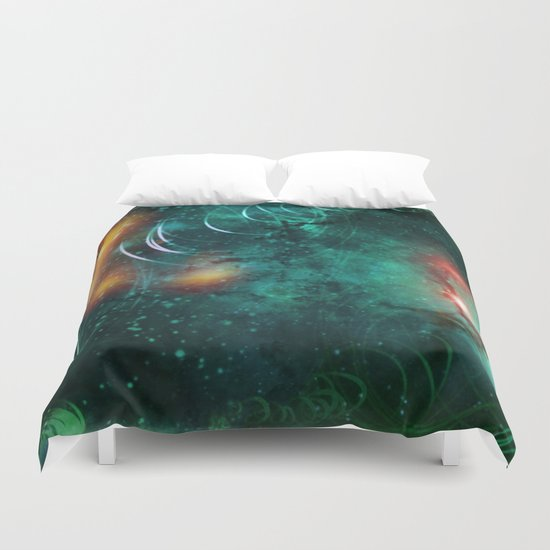 Turquoise Nebula Abstract Duvet Cover