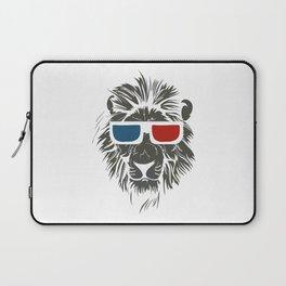 Lion with 3D sunglasses Laptop Sleeve